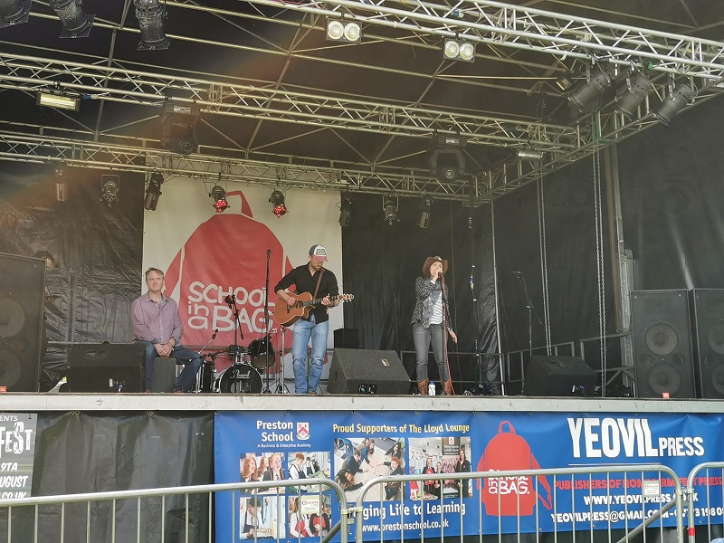 Chris, Becs and JB on the Lloyd Lounge Stage